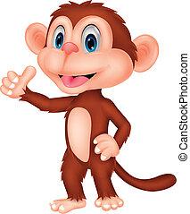 サル, の上, 親指, かわいい, 漫画