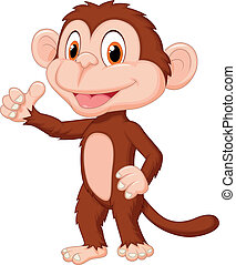 サル, の上, 親指, かわいい, 漫画, 寄付