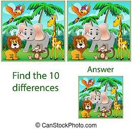 サル, オウム, 相違, イラスト, 子供, ビジュアル, キリン, ジャングル, puzzle:, 象, beasts:, ファインド, 10