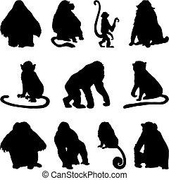サル, シルエット, セット