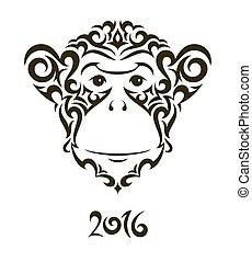 サル, シンボル, -, イラスト, 2016., 年, 新しい