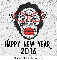 サル, チンパンジー, 情報通, ほしい, kiss., ガラス