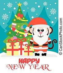 サル, ベクトル, 年, 新しい, カード, 幸せ