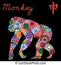 サル, 中国語, 印, 黄道帯, 花, カラフルである