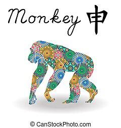 サル, 中国語, 色, 印, 黄道帯, 花, 幾何学的