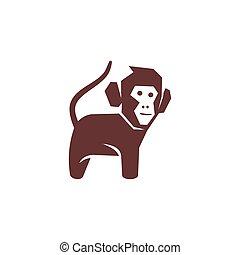 サル, 体, 隔離された, ベクトル, ロゴ, イラスト, テンプレート, デザイン
