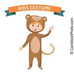 サル, 子供, 衣装, 隔離された, ベクトル, イラスト