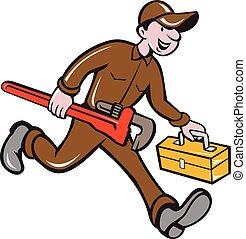 サル, 届く, レンチ, 道具箱, 配管工, 漫画