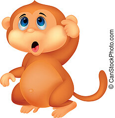 サル, 漫画, 考え, かわいい