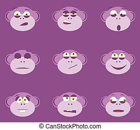 サル, 漫画, 顔