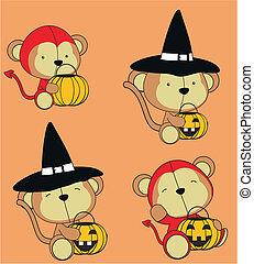 サル, 赤ん坊, 漫画, ハロウィーン, セット