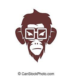 サル, 隔離された, ベクトル, ロゴ, イラスト, テンプレート, デザイン, 接眼レンズ