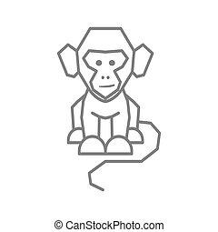 サル, 隔離された, ベクトル, ロゴ, イラスト, テンプレート, デザイン, 線
