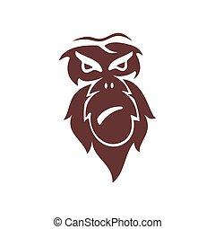 サル, 隔離された, ベクトル, ロゴ, イラスト, テンプレート, デザイン, 頭