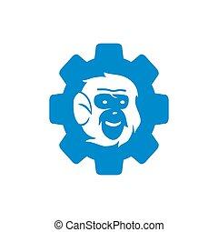 サル, 隔離された, ベクトル, ロゴ, ギヤ, イラスト, テンプレート, デザイン