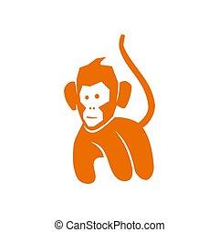 サル, 隔離された, ベクトル, ロゴ, 歩きなさい, イラスト, テンプレート, デザイン