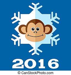 サル, 雪片, 2016.