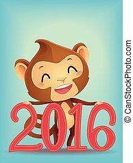 サル, 2016, 新年, デザイン