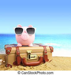 サングラス, トロピカル, 小豚, スーツケース, 浜, 銀行