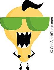 サングラス, モンスター, 色, yellow-colored, イラスト, 漫画, ベクトル, 緑, ∥あるいは∥