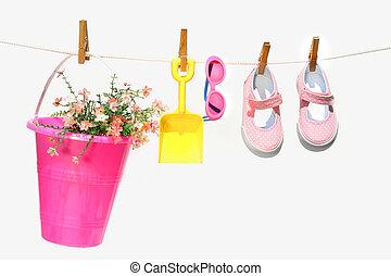 サングラス, 子供, 靴, バケツ