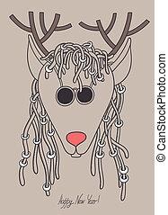 サングラス, 恐れる, 鹿, オリジナル, 情報通, 毛, 陽気, christmas!, 新しい, クリスマス, year!, 幸せ