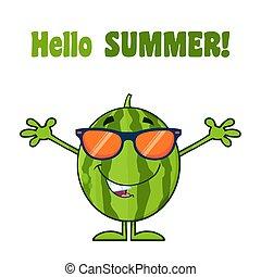 サングラス, 緑, 特徴, 腕, フルーツ, スイカ, 新たに, 微笑, 開いた, 漫画, マスコット