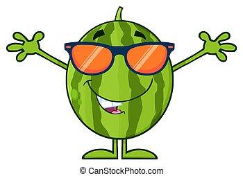 サングラス, 緑, 特徴, 腕, フルーツ, スイカ, 新たに, 開いた, 漫画, マスコット