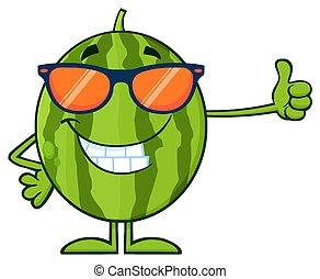 サングラス, 親指, 寄付, 緑, 特徴, の上, フルーツ, スイカ, 新たに, 微笑, 漫画, マスコット