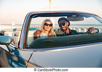 サングラス, 運転, cadriolet, 恋人, 若い, 幸せ