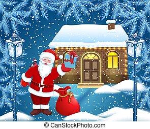 サンタクロース, そして, 赤, 袋, そして, 贈り物の箱, 中に, 彼の, 手, そして, bullfinch,...