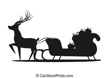 そり トナカイ Santa 隔離された 面白い Harnessed そり ドライブ