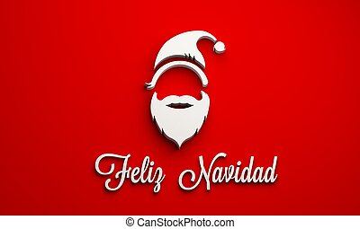サンタクロース, ∥で∥, メリークリスマス, 中に, spanish., 3d, レンダリング, イラスト