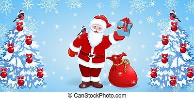 サンタクロース, ∥で∥, 赤, 袋, そして, 贈り物の箱, 中に, 彼の, 手, そして, bullfinch,...