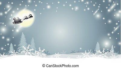サンタクロース, イラスト, クリスマス, トナカイ, ベクトル, デザイン, 背景, 雪片, 冬