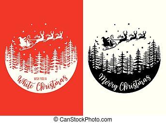 サンタクロース, ベクトル, sleight, 彼の, クリスマスカード, トナカイ