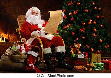 サンタクロース, モデル, の前, 暖炉