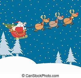 サンタクロース, 中に, クリスマス, 夜