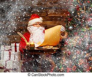 サンタクロース, 中に, 木製である, 家に 内部, 読書, 欲しいもののリスト, スクロール