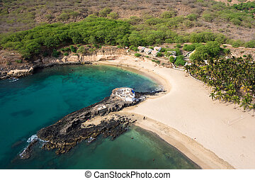 サンティアゴ, tarrafal, 航空写真, cabo, 島, -, verde, 岬, 浜, 光景