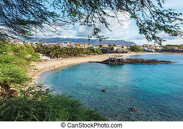 サンティアゴ, tarrafal, cabo, 島, -, verde, 岬, 浜