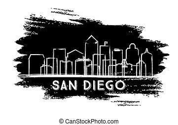 サンディエゴ, sketch., カリフォルニア, スカイライン, silhouette., 引かれる, 都市, 手
