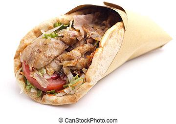 サンドイッチ, カバブ, の上, 背景, 終わり, 白