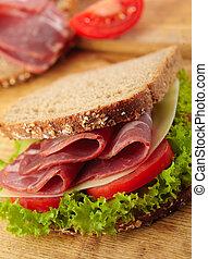 サンドイッチ, トマト, deli, chees, スイス人, 新たに