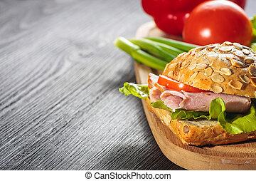 サンドイッチ, ラディッシュ, deli, 新たに, ハム, トマト
