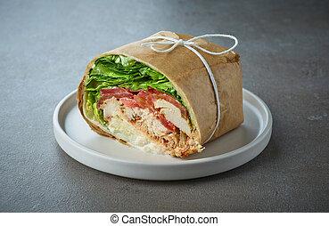 サンドイッチ, 包みなさい, 鶏