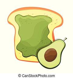 サンドイッチ, avocado., toast., アボカド, おいしい, 新たに, トーストされた, bread