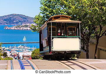 サンフランシスコ, ハイドの通り, ケーブルカー, カリフォルニア