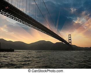 サンフランシスコ, 金 ゲート 橋, シルエット, ∥において∥, 日没