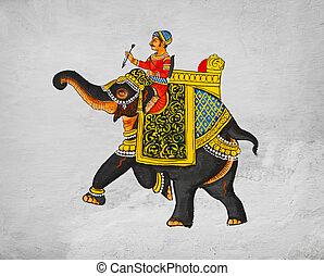 サンプル, インド, イメージ, -, 壁画, 伝統的である, マハーラージャ, 乗馬, udaipur, elephant.